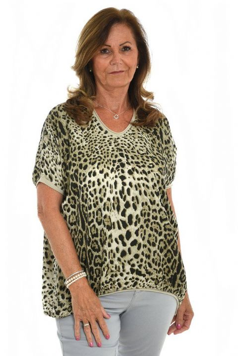 CREAM SILK LEOPARD TOP